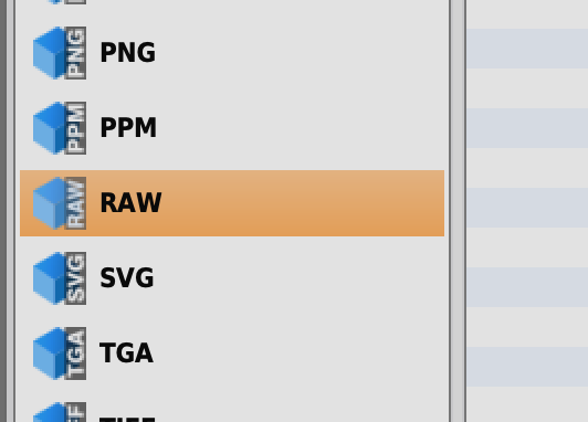 Format ExplorerでRaw選択