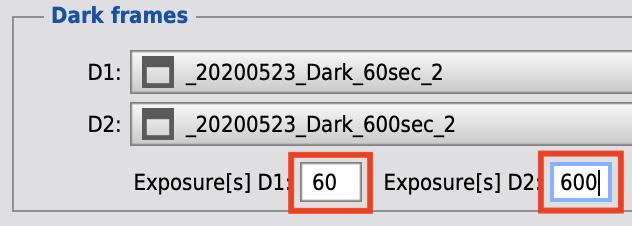 Darkフレームの露出時間を設定