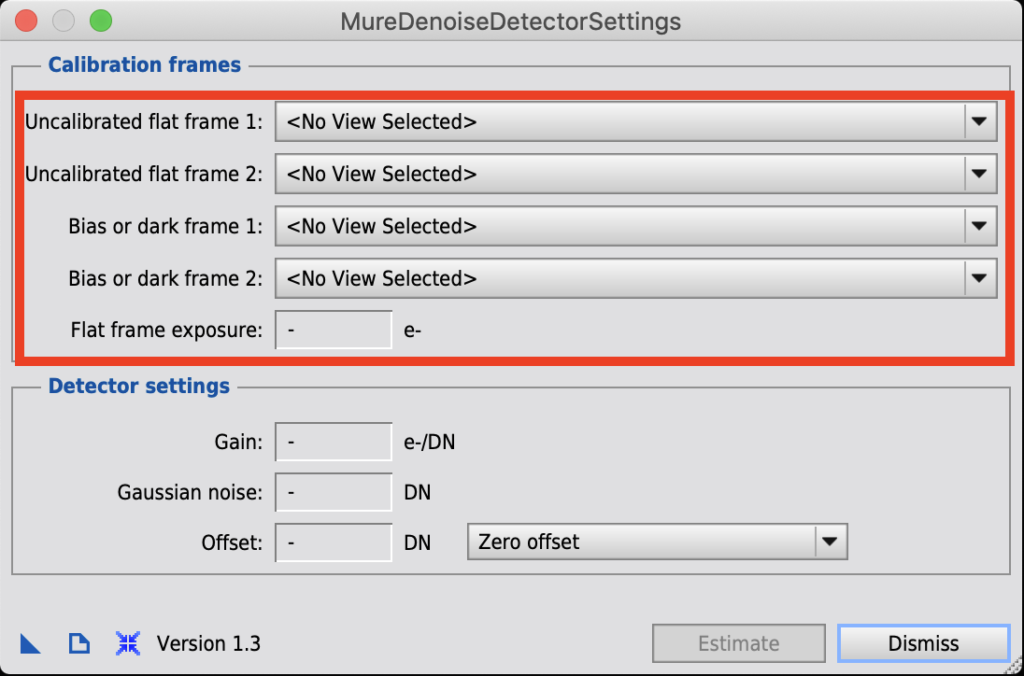 MureDenoiseDetectorSettings画面