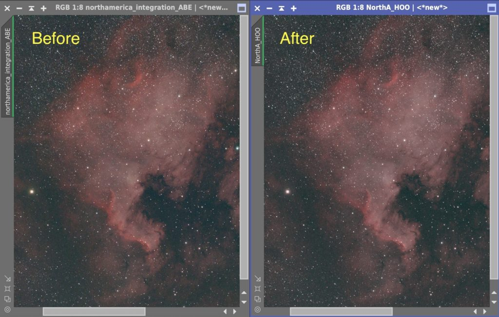 STC Astro Duo-Narrowbandフィルター使った画像への擬似HOOの適用