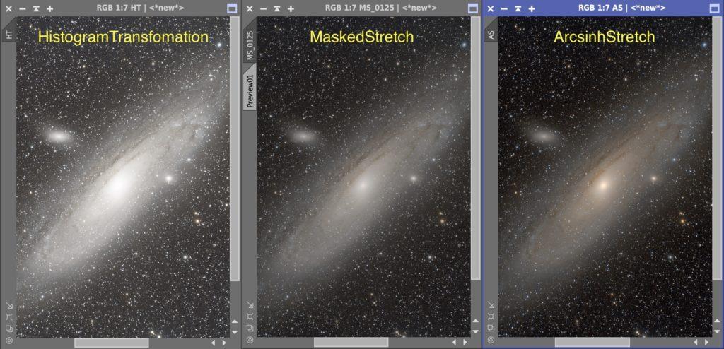 アンドロメダ銀河のストレッチ三態