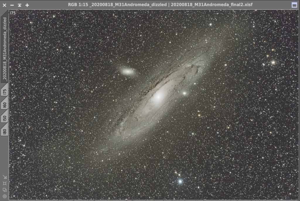 銀河の周りの光が減っている